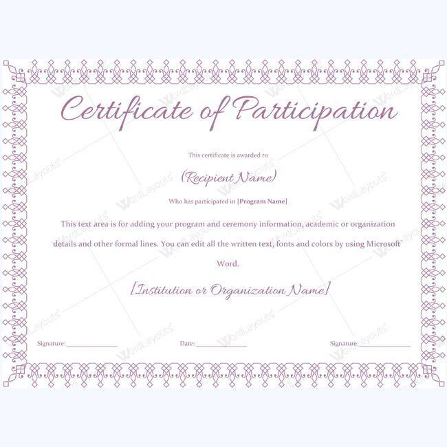 13 best Certificate of Participation Templates images on Pinterest ...