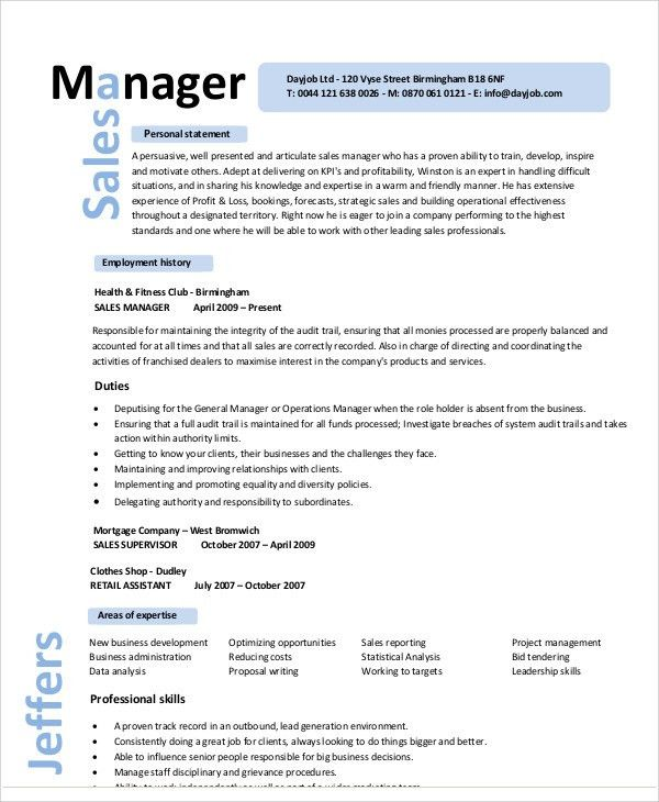 Regional Sales Manager Resume Template. national sales manager ...