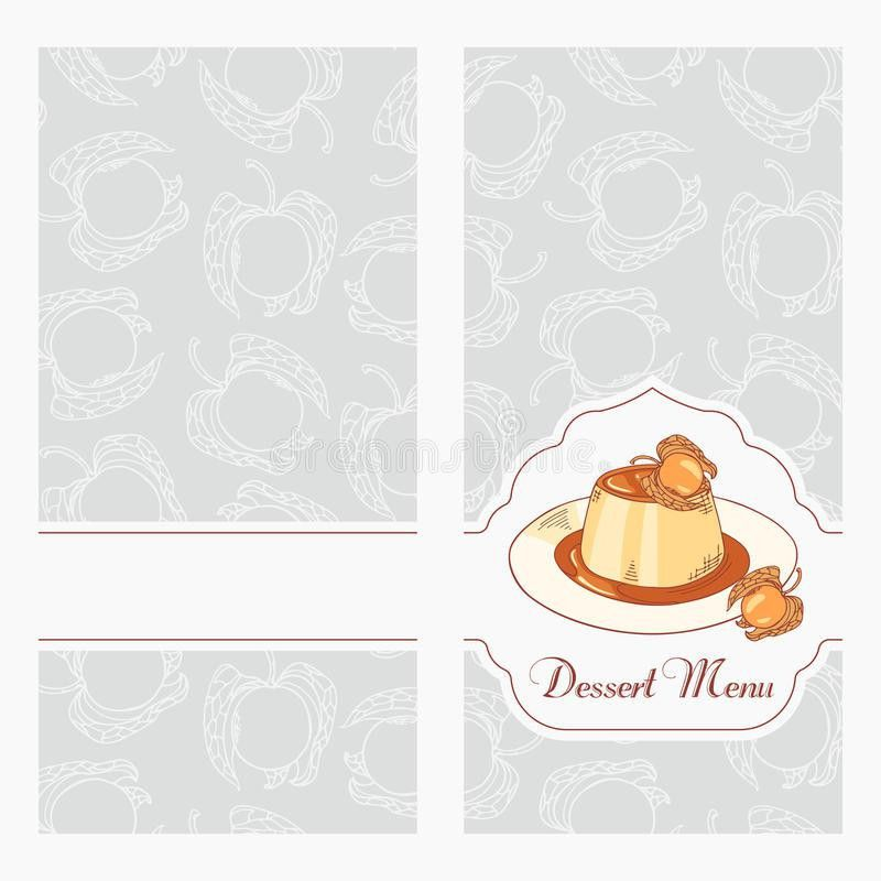 Dessert Menu Template Design For Cafe. Creme Caramel On Plate In ...