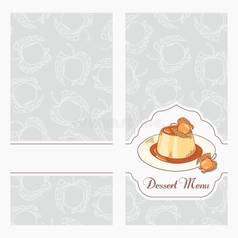 Dessert Menu Template Design For Cafe. Creme Caramel On Plate In ...