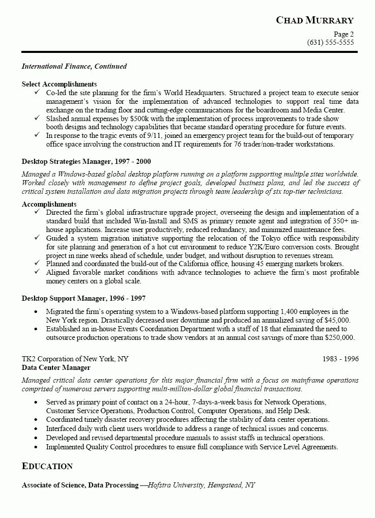 IT Manager Sample Resume | Free Resumes Tips