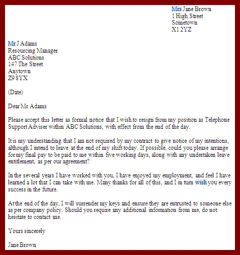 9 Resignation Letter Sample with Notice Period jobstreet ...