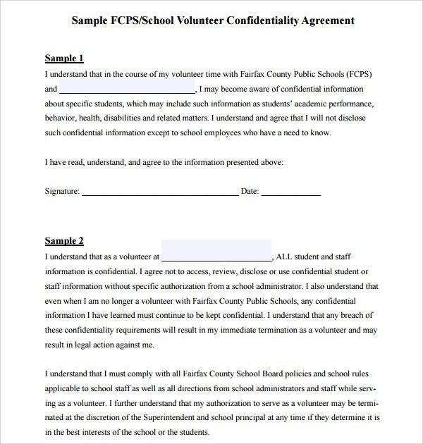 Sample Volunteer Confidentiality Agreement Template - 6+ Free ...