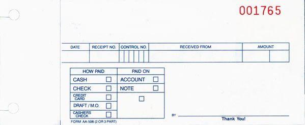"""Buy Cash Receipt Slips """" Cash Receipts for Auto Dealers - Estampe"""