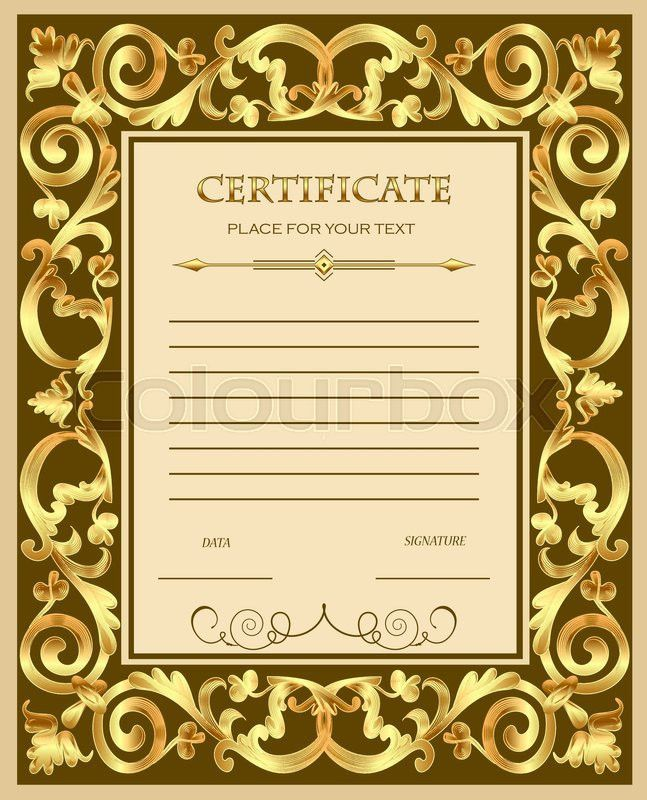 Illustration of a custom certificate template with gold ornaments ...