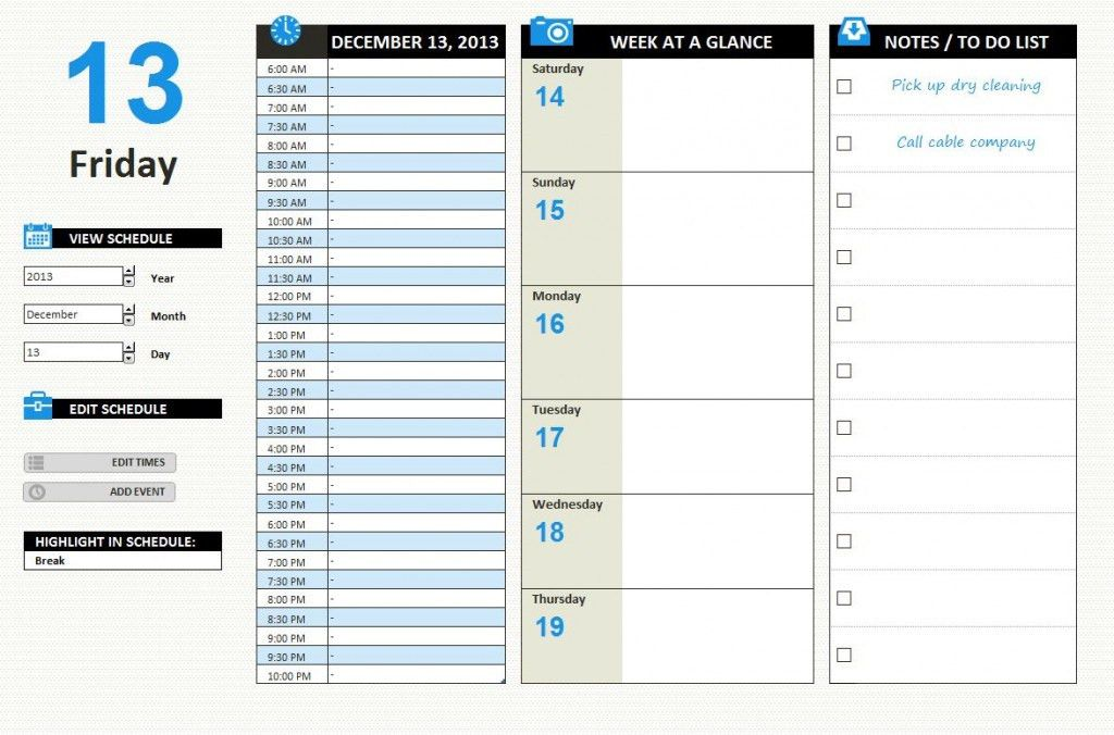 Scheduling Excel Templates | Excel XLSX Templates