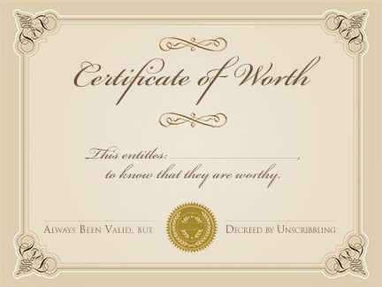 certificate of worthiness | Change border to plaid and maybe ...