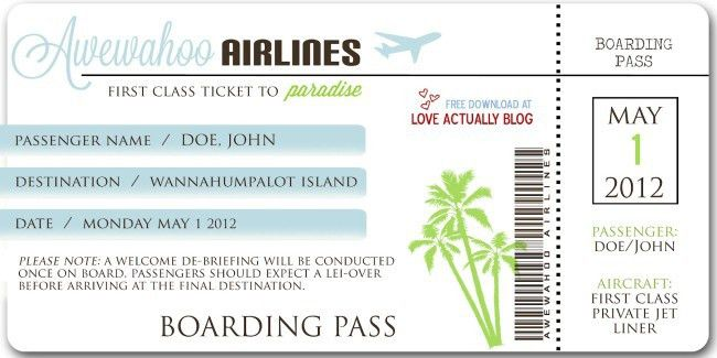 Beautiful Template Example of Airlines Boarding Pass Ticket with ...