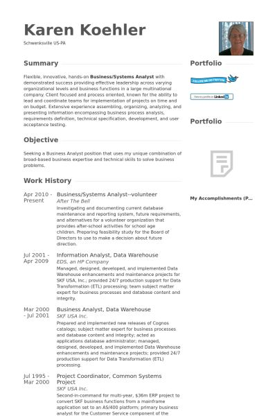 Systems Analyst Resume samples - VisualCV resume samples database