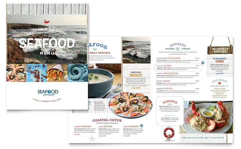 Seafood Restaurant Menu Template - Word & Publisher