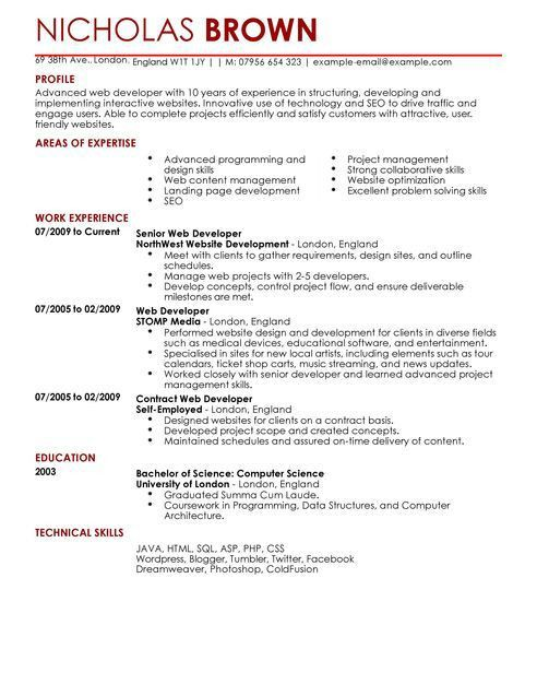 Web Developer CV Example for It | LiveCareer