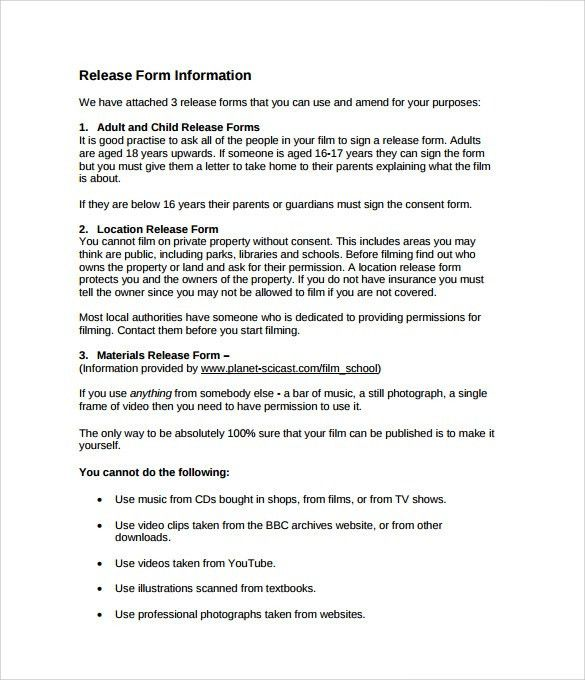 Sample Film Release Form - 9+ Download Documents in PDF