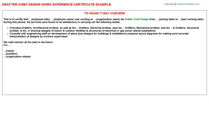 Design Work Experience Letters