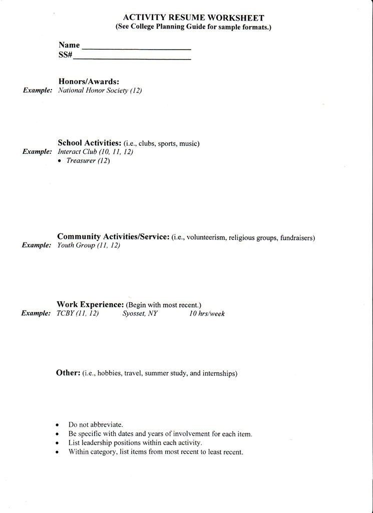 College Application Resume Template - http://www.jobresume.website ...