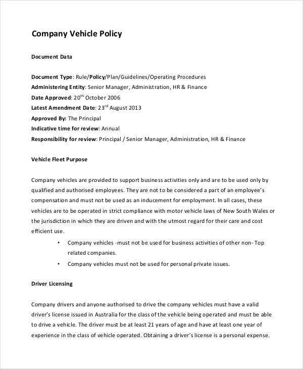 Company Policy Template - 9+ Free PDF Documents Download   Free ...