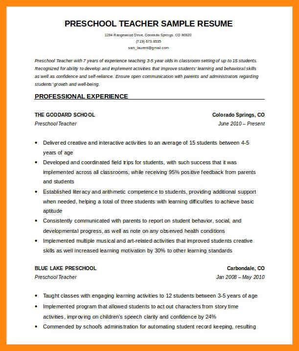 preschool teacher resume sample modaoxus scenic free resume ...