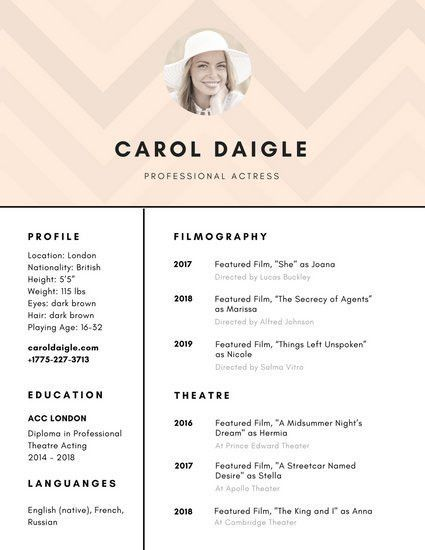 Antique White Acting Resume - Templates by Canva