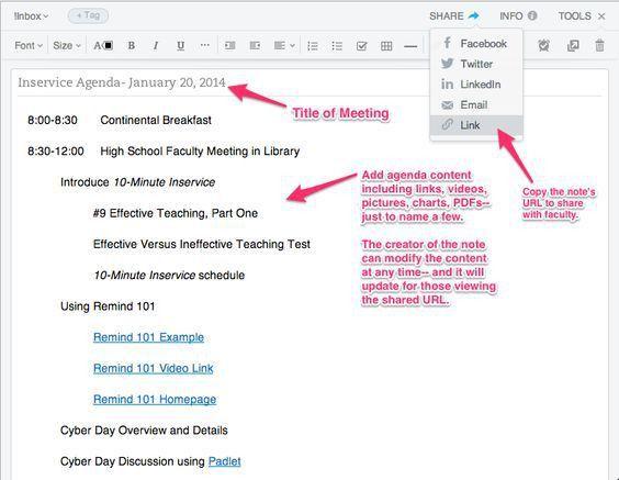 Create Agenda in Evernote (web version shown) | Tech | Pinterest ...