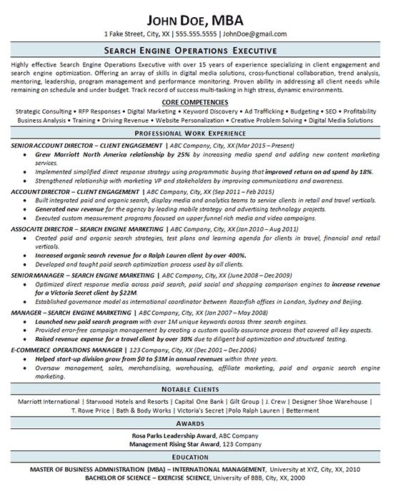Search Engine Optimization Resume Example - SEO - Operations
