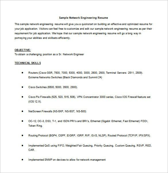 Network Engineer Resume Template – 9+ Free Word, Excel, PDF, PSD ...