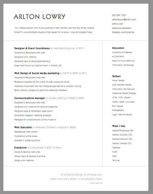 126 best :: Resume / Curriculum Vitae :: images on Pinterest | Cv ...