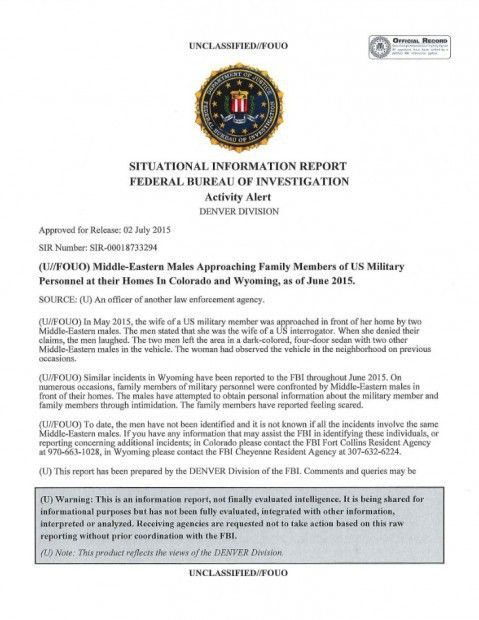 Read the Alert Issued By the FBI Warning of 'Middle-Eastern Males ...