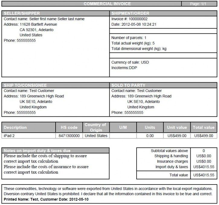 Download Canadian Commercial Invoice Template | rabitah.net