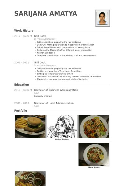 Grill Cook Resume samples - VisualCV resume samples database