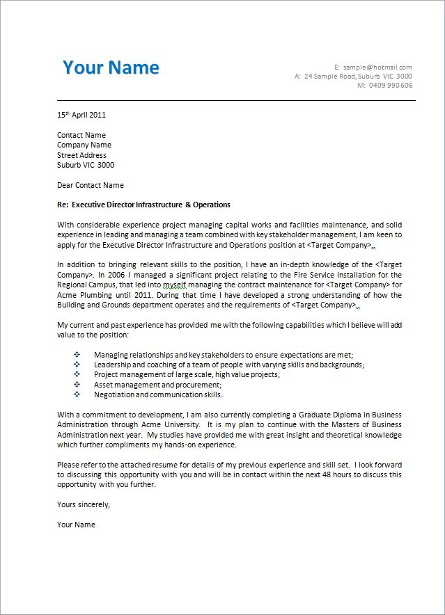 Example Cover Letter Australia - Best Letter Sample