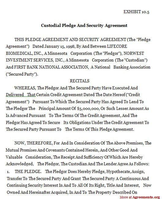 Custodial Pledge And Security Agreement,Sample Custodial Pledge ...