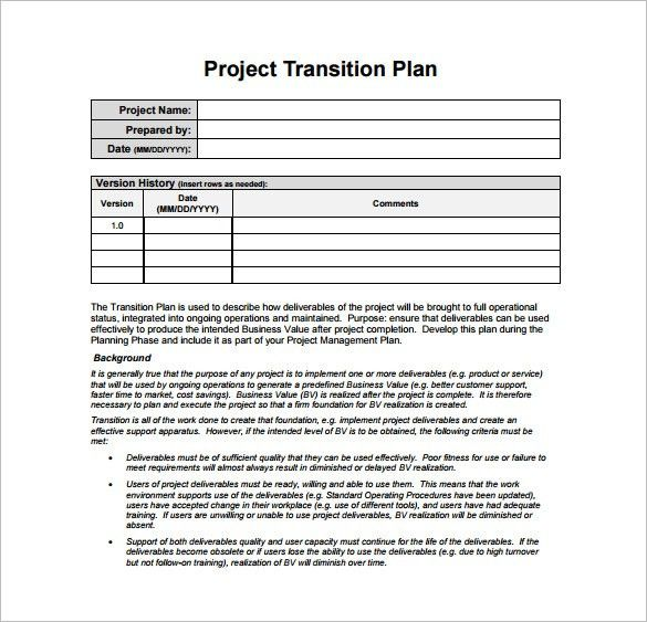 Transition Plan Template - Free Word, Excel, PDF Documents ...