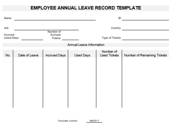 NE0017 Employee Annual Leave Record Template – English – Namozaj