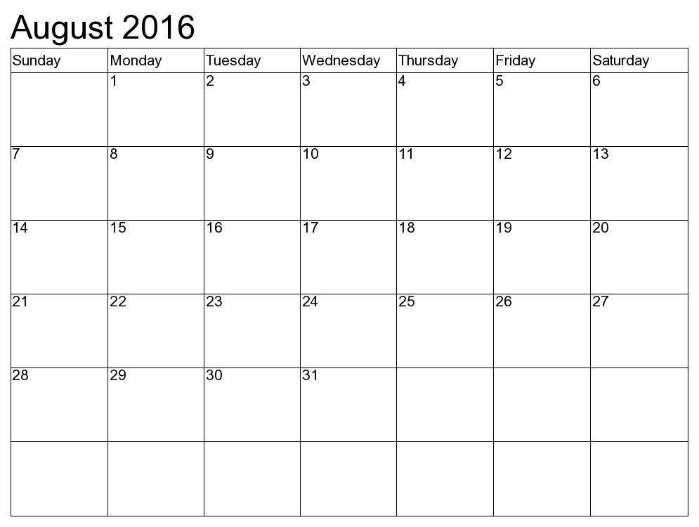 August 2016 Printable Calendar   Blank Templates   Printable ...