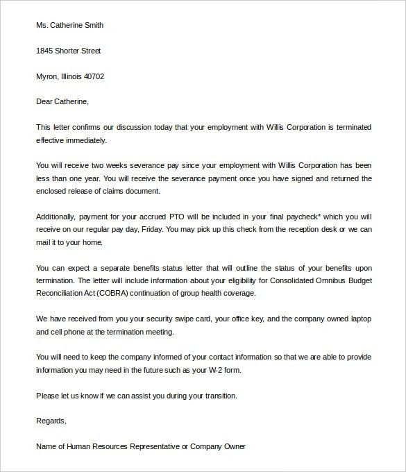 Free Termination Letter Template - 33+ Free Sample, Example ...