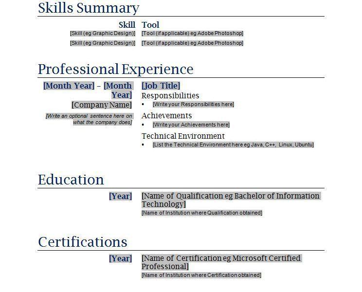 Impressive Printable Resume Template 6 Free Blanks Resumes ...