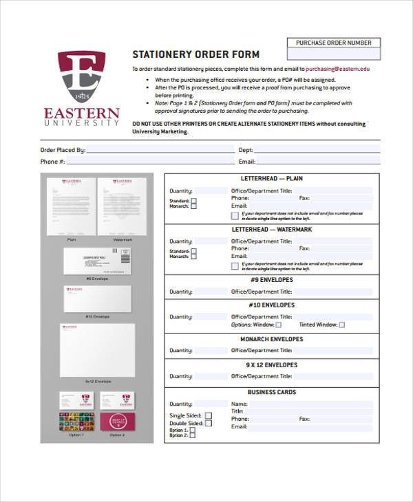 10 Stationery Order Templates - Free Sample, Example Format ...