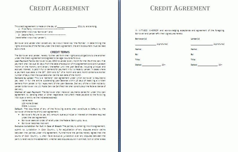 Credit Agreement Template | Free Agreement Templates