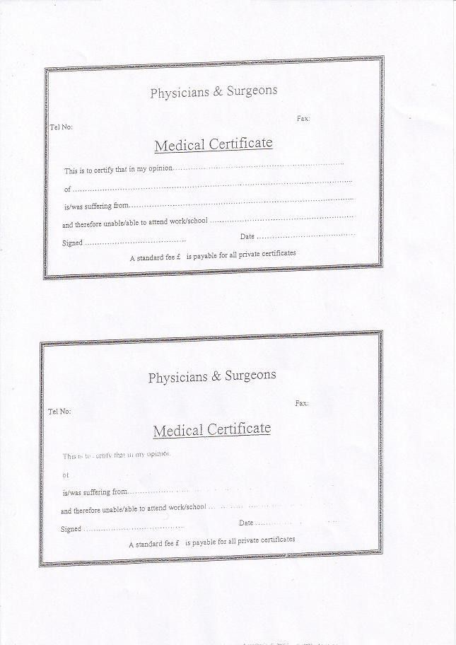 Medical Certificate Form. Free Download Doctor Medical Certificate .  Free Medical Certificate