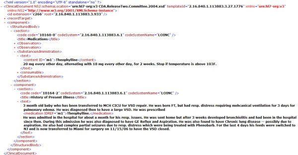 An example HL7 CDA XML medical document. An example HL7 CDA XML ...