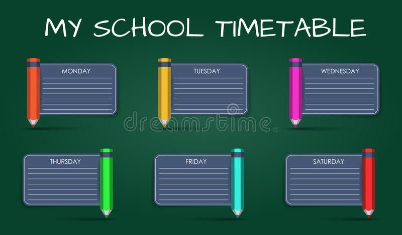 Template Daily School Timetable Stock Vector - Image: 58270396