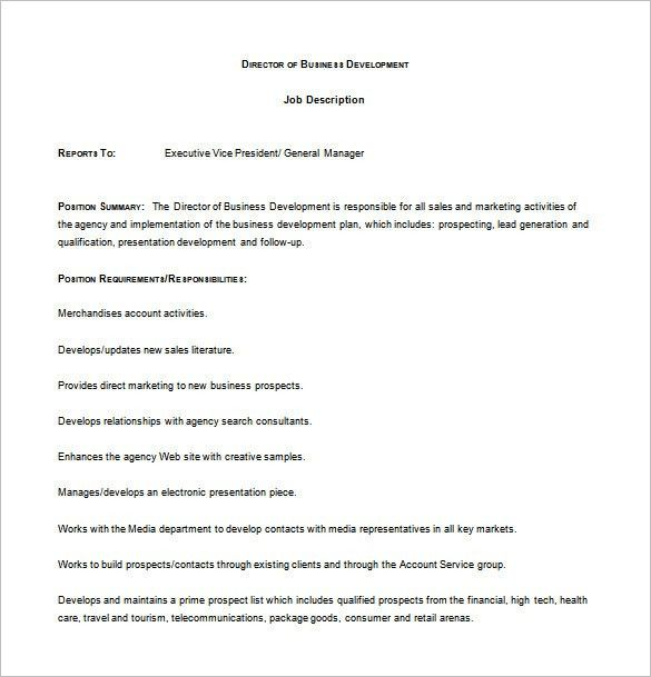 Business Development Job Description Template – 10+ Free Word, PDF ...