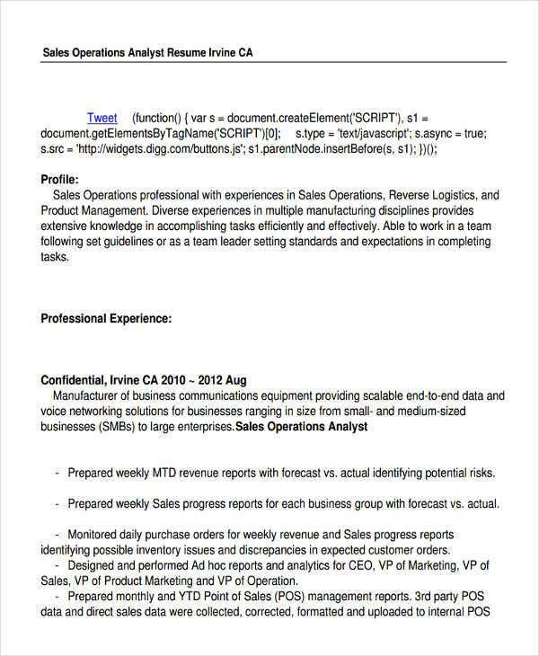 Operations Analyst Resume - cv01.billybullock.us