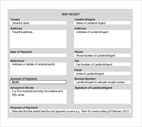 Rent Receipt Template – 9+ Free Word, Excel, PDF Format Download ...