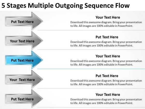 5 Stages Multiple Outgoing Sequence Flow One Page Business Plan ...