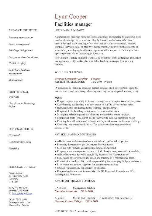 Facilities manager CV sample, ultimately delivering reliable, safe ...