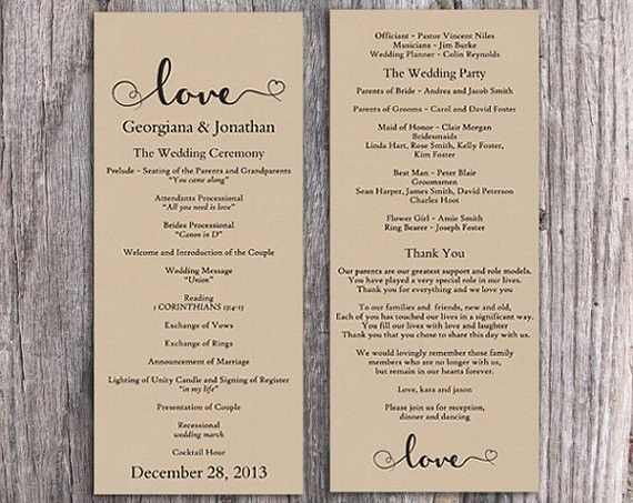 Burlap Wedding Program Template DIY Editable Word File Download ...