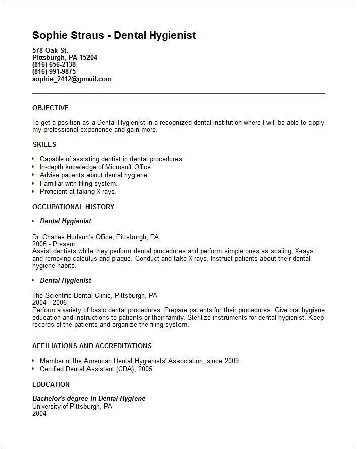 Dental hygienist Resume Example - Free templates collection
