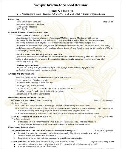 Graduate School Resume. Sample Graduate School Resume In Pdf ...