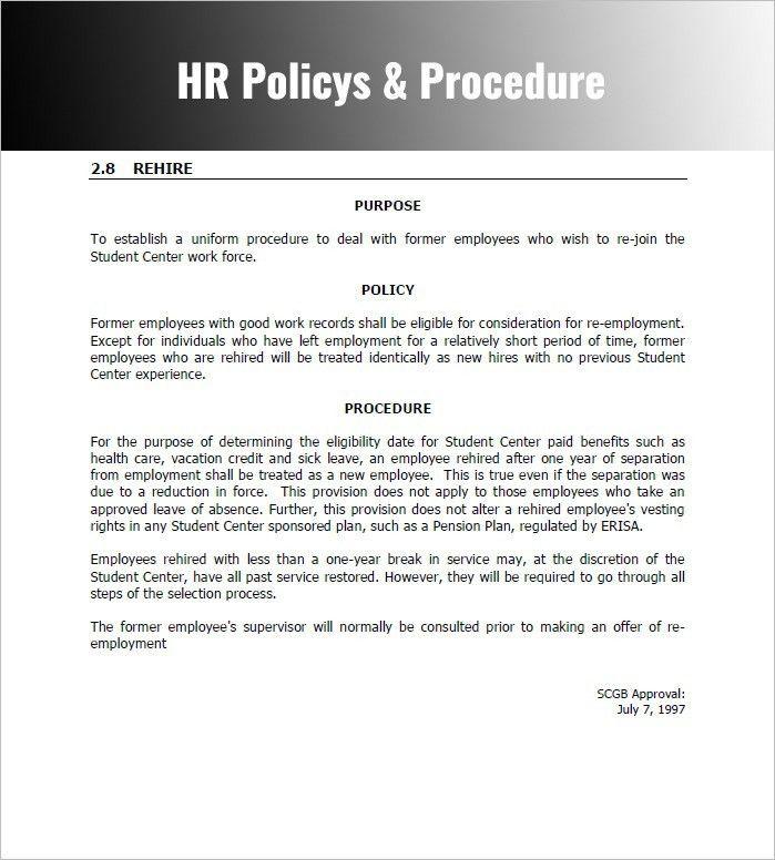 Beautiful Procedures Template Word Photos - Best Resume Examples ...