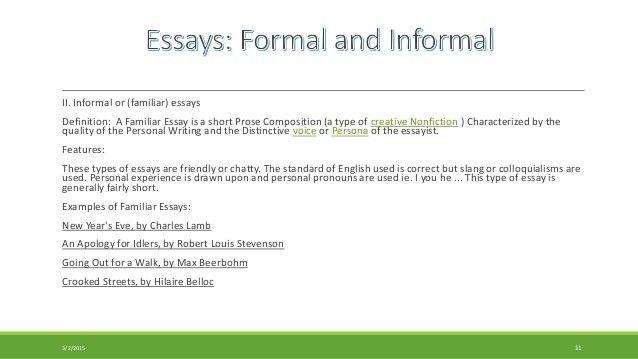 examples of informal essay